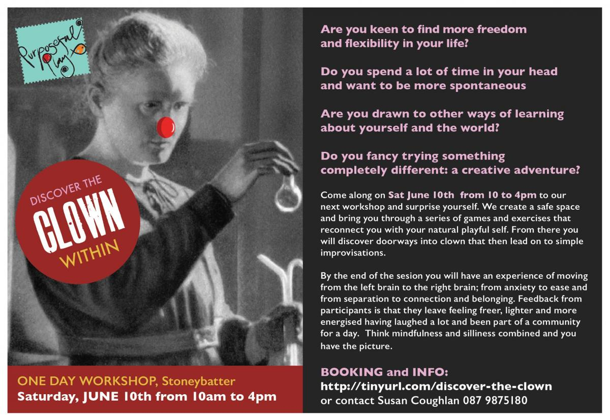 Play improvisation workshop dublin discover the clown within come along on sat june 10th from 10 to 4pm to our next workshop and surprise yourself it will give you an opportunity to explore your relationship with solutioingenieria Images